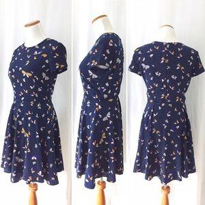 Zara Dresses - Stunning Zara Butterfly Navy Print Dress For Sale!